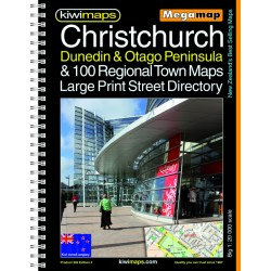 Christchurch Dunedin & 100 Towns A3 Large Print Bookmap 302