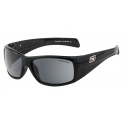 Dirty Dog Breech Sunglasses - Black Frames with Grey Silver Mirror Polarized Lens