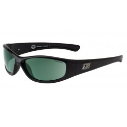 Dirty Dog Buzzer Sunglasses - Shiny Black Frames with Green Polarized Lens