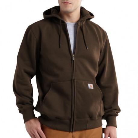 CARHARTT heavyweight hooded zip-front sweatshirt, Dark Brown