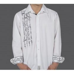 KIA KAHA Men's Harakeke Dress Shirt White