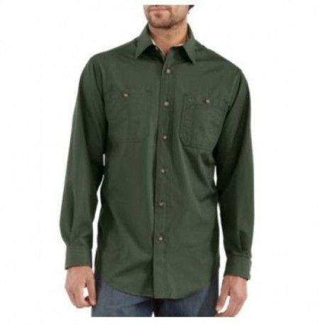 Carhartt Canvas Tradesman Shirt in Moss : Long Sleeve