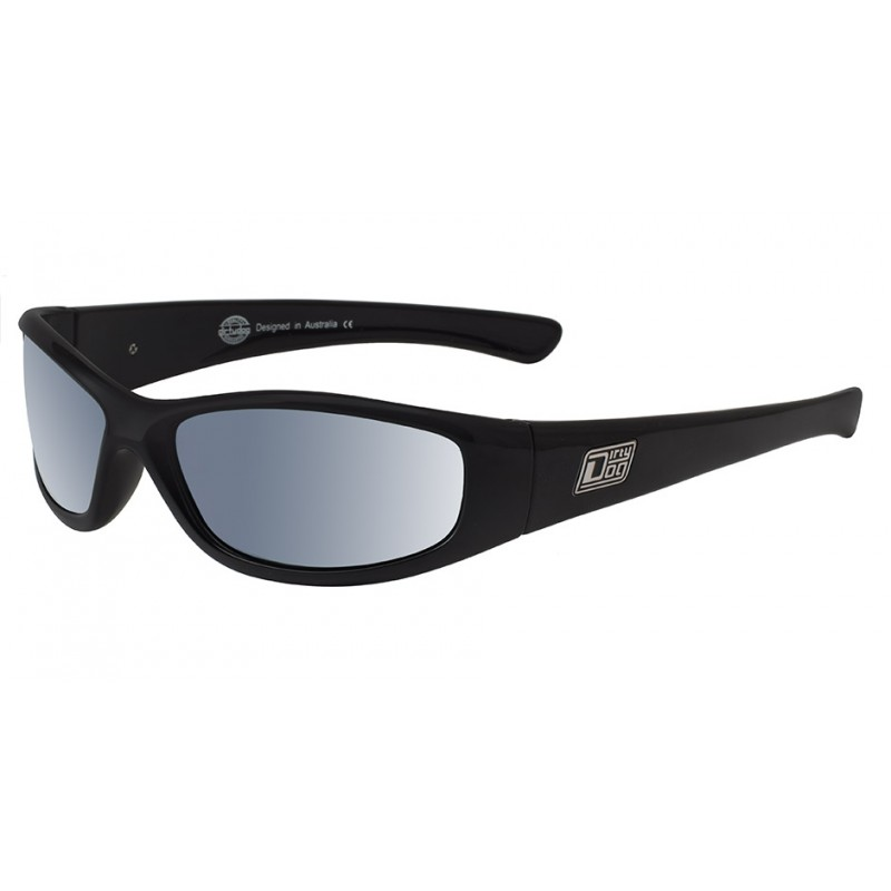 6a065498e51 Dirty Dog Buzzer Sunglasses - Satin Black Frames with Grey Silver Mirror  Polarised Lens