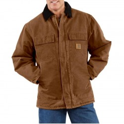 CARHARTT Sandstone Traditional Arctic Lined Coat - Dark Brown
