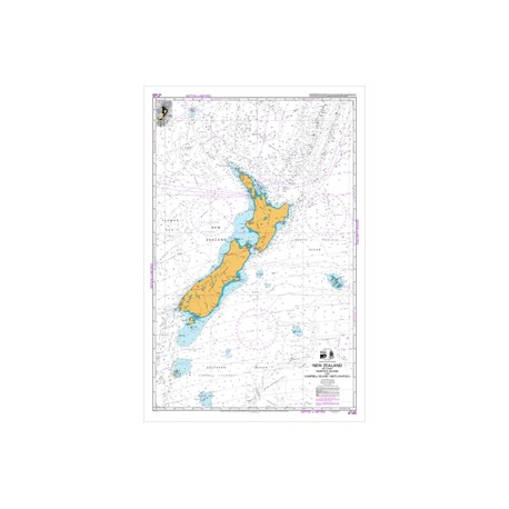 NZ 14600 Hydrographic Nautical Chart- New Zealand including Norfolk and Campbell Island / Motu Ihupuku