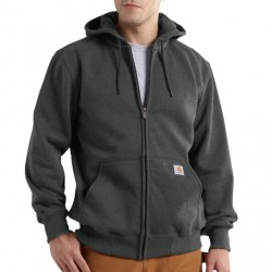 CARHARTT heavyweight hooded zip-front sweatshirt, Charcoal