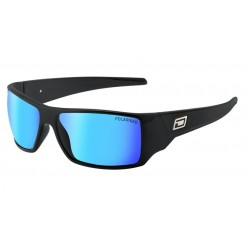 Dirty Dog Axe Sunglasses - Satin Black Frames with Ice Blue Mirror Lens