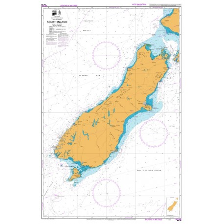 NZ 25 Hydrographic Nautical Chart- South Island